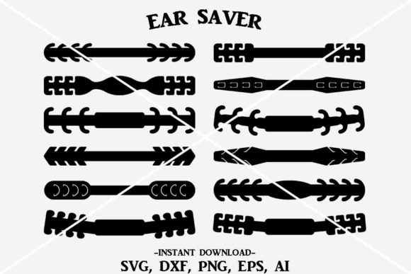 Download Free Ear Saver Bundle Mask Holder Graphic Graphic By Designtime2019 for Cricut Explore, Silhouette and other cutting machines.