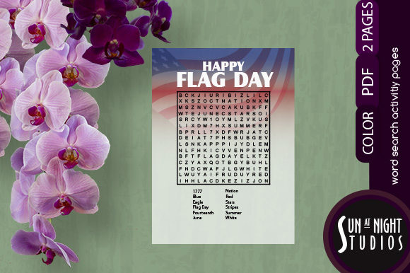 Download Free Flag Day Word Search Activity Printable Graphic By Sun At Night for Cricut Explore, Silhouette and other cutting machines.