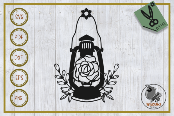 Download Free Flower Flower With Lantern Cut File Graphic By Rizuki Store for Cricut Explore, Silhouette and other cutting machines.