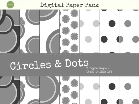Download Free Grey Circles And Polka Dots Paper Pack Graphic By Gifted Tribe for Cricut Explore, Silhouette and other cutting machines.