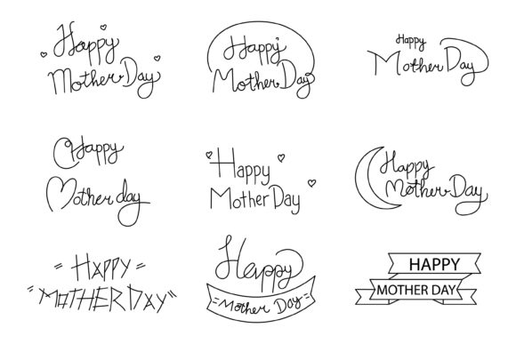 Download Free Hand Drawn Happy Mother Day Graphic By Griyolabs Creative Fabrica for Cricut Explore, Silhouette and other cutting machines.