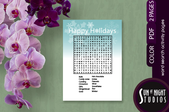 Download Free Happy Holidays Word Search Printable Graphic By Sun At Night for Cricut Explore, Silhouette and other cutting machines.