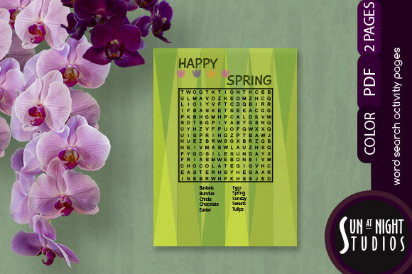 Happy Spring Word Search Printable Graphic Teaching Materials By Sun At Night Studios