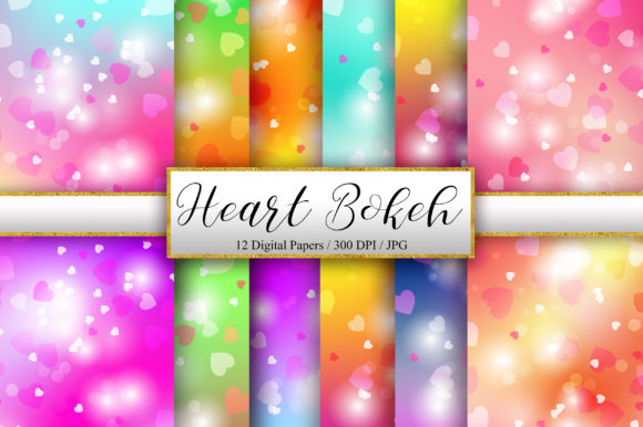 Heart Bokeh Background Digital Papers Graphic Backgrounds By PinkPearly