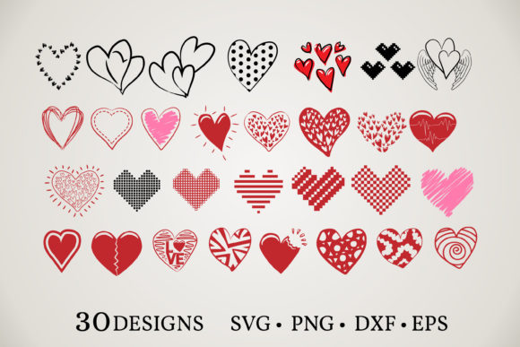 Download Free Heart Clipart Bundle Graphic By Euphoria Design Creative Fabrica for Cricut Explore, Silhouette and other cutting machines.