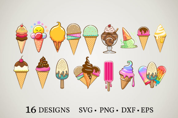 Ice Cream Bundle  Graphic Print Templates By Euphoria Design