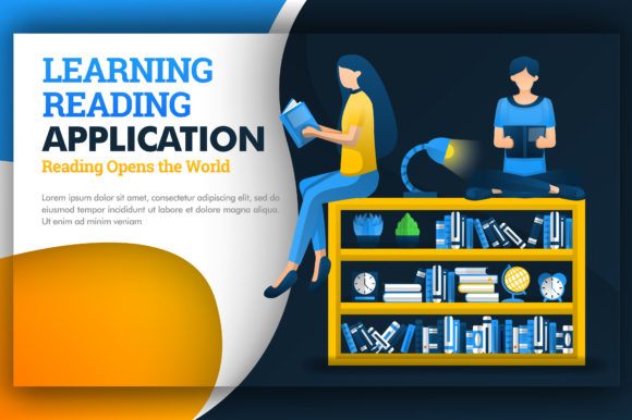 Print on Demand: Illustration of Learning Reading Apps Graphic Graphic Templates By setiawanarief111