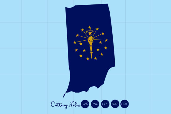 Indiana State With Flag Background Graphic By Hd Art Workshop