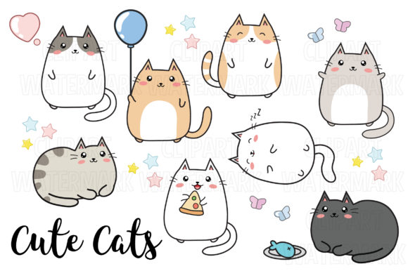 Kawaii Cats Clipart Graphic Illustrations By magreenhouse