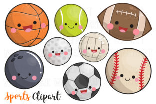 Kawaii Sports Clipart Graphic Illustrations By magreenhouse