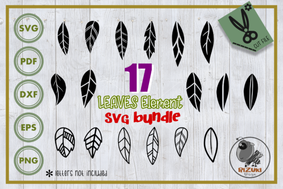 Download Free Leaves 17 Leaves Silhouette Graphic By Rizuki Store Creative Fabrica for Cricut Explore, Silhouette and other cutting machines.