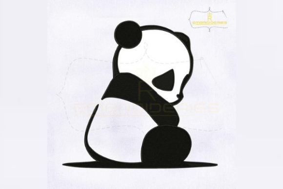 Little Sad Panda Wild Animals Embroidery Design By royalembroideries
