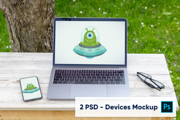Download Free Macbook On Wooden Desk Mockup Graphic By Marian Kadlec for Cricut Explore, Silhouette and other cutting machines.