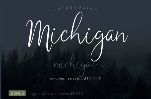 Print on Demand: Michigan Script & Handwritten Font By artdee2554