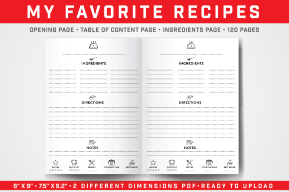 Print on Demand: My Favorite Recipes Graphic KDP Interiors By balajikonline