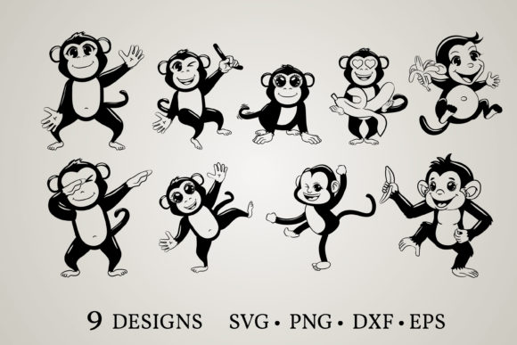 Monkey Clipart Graphic Print Templates By Euphoria Design