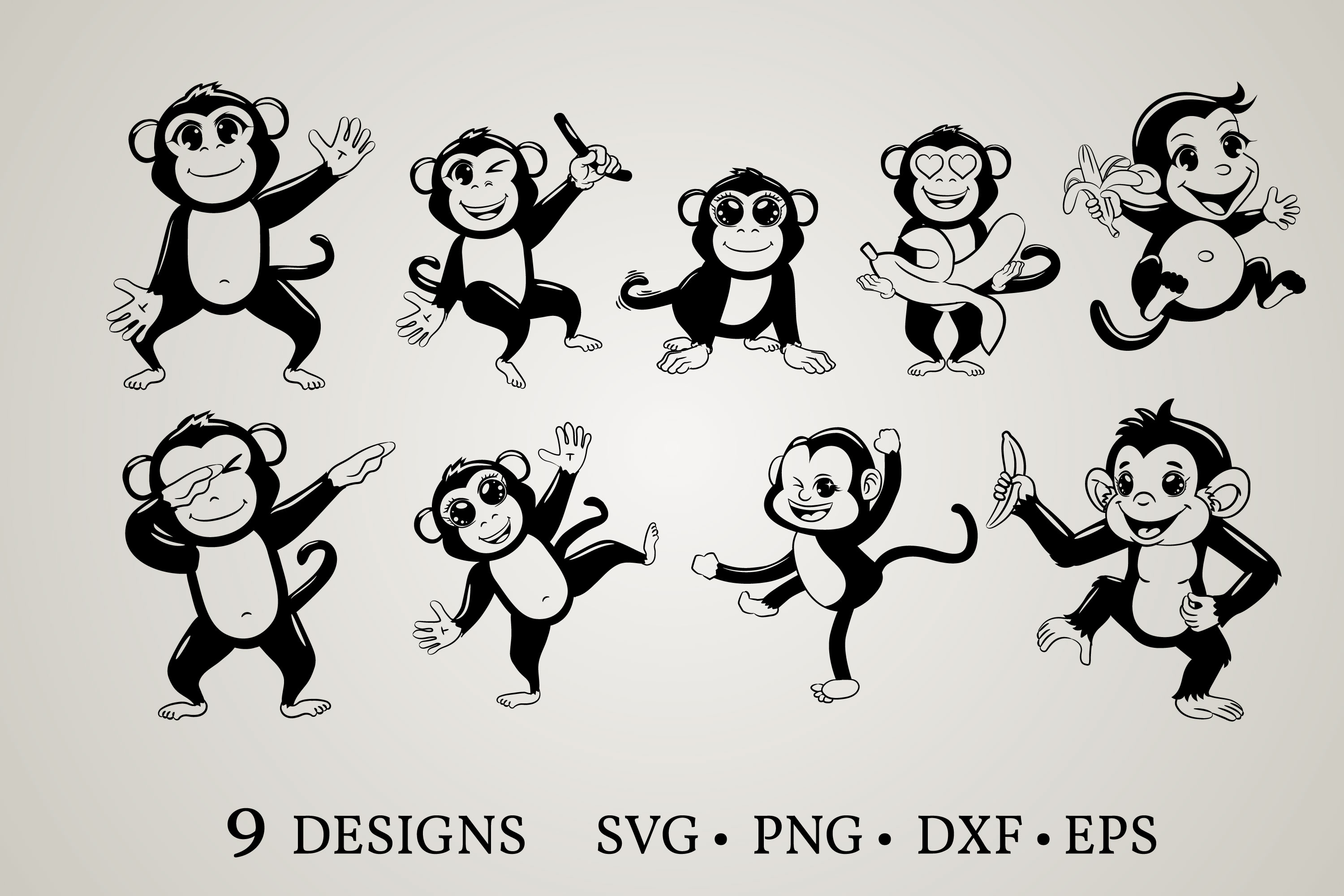 Download Free Monkey Clipart Graphic By Euphoria Design Creative Fabrica SVG Cut Files