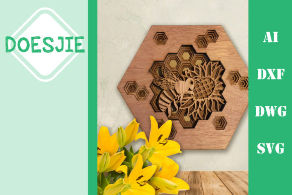 Multi Layer Beehive Sunflower Bee Graphic 3D SVG By doesjie