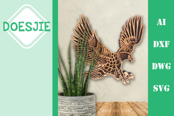 Multi Layer Mandala Eagle Graphic 3D SVG By doesjie