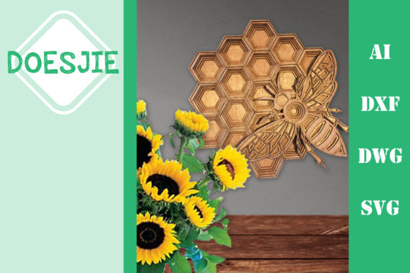 Multi Layer Mandala Honeycomb Bee Graphic 3D SVG By doesjie