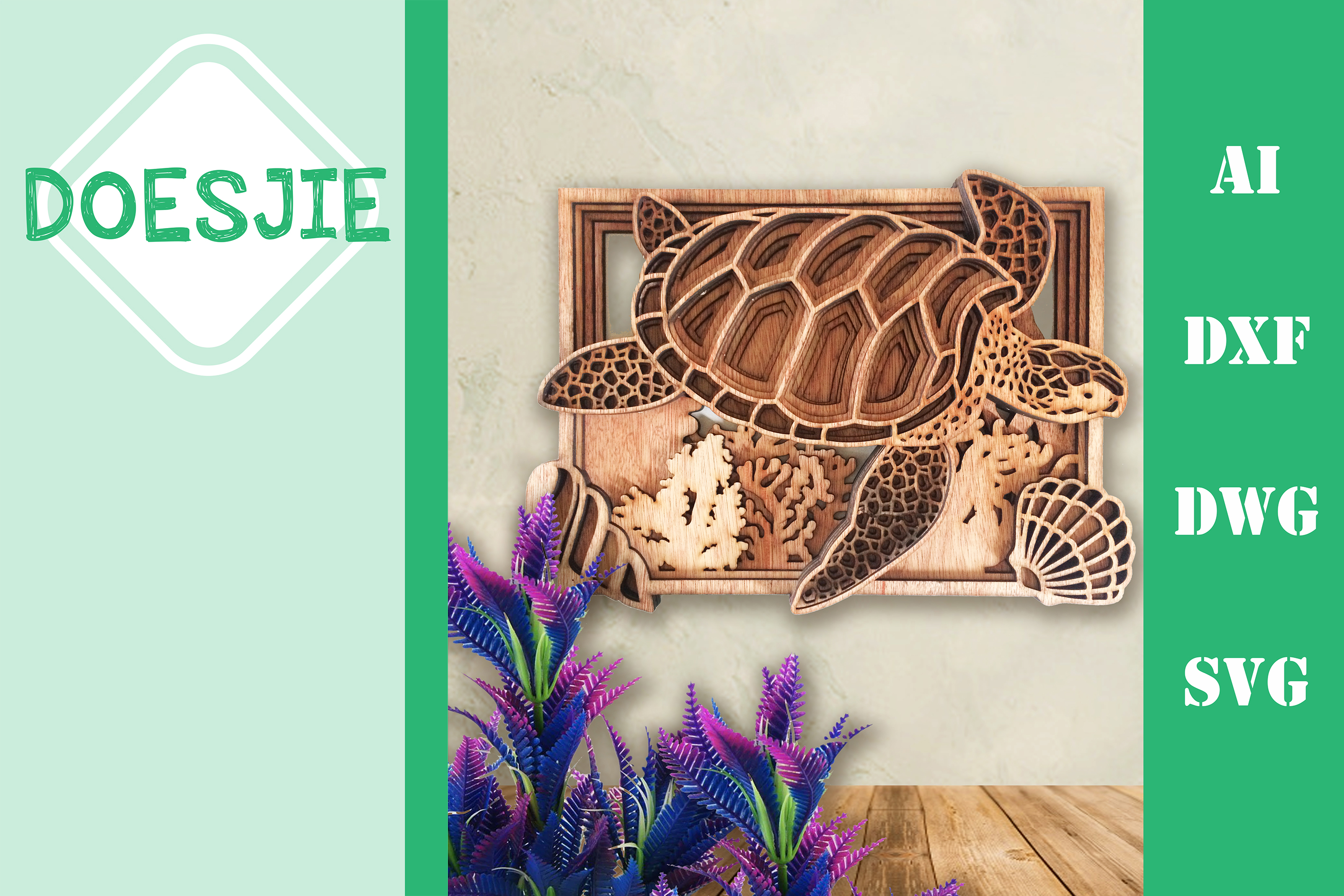 Download Free Multi Layer Mandala Sea Turtle Ocean Grafico Por Doesjie for Cricut Explore, Silhouette and other cutting machines.