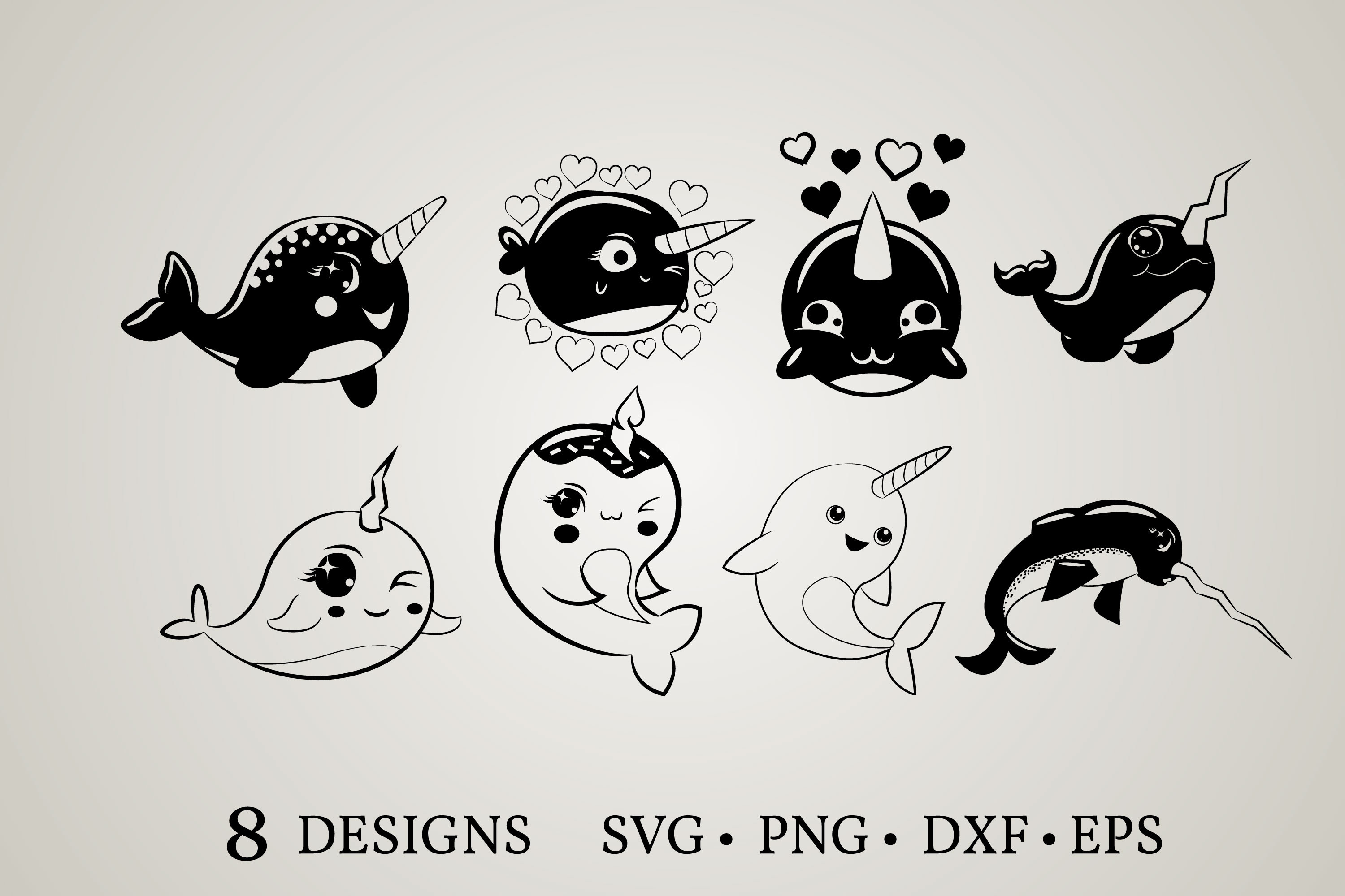 Download Free Narwhal Clipart Bundle Graphic By Euphoria Design Creative Fabrica for Cricut Explore, Silhouette and other cutting machines.
