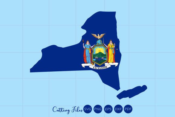 New York State With Flag Background Graphic By Hd Art Workshop
