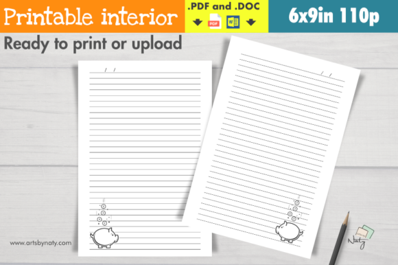 Download Free Notebook Interior With A Piggy Bank Art Graphic By Artsbynaty for Cricut Explore, Silhouette and other cutting machines.