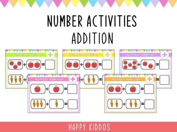 Number Activities: Addition 1-10 Graphic K By Happy Kiddos