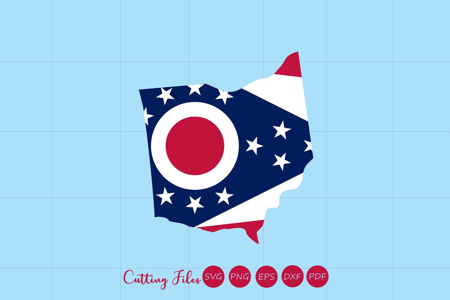 Ohio State With Flag Background Graphic By Hd Art Workshop