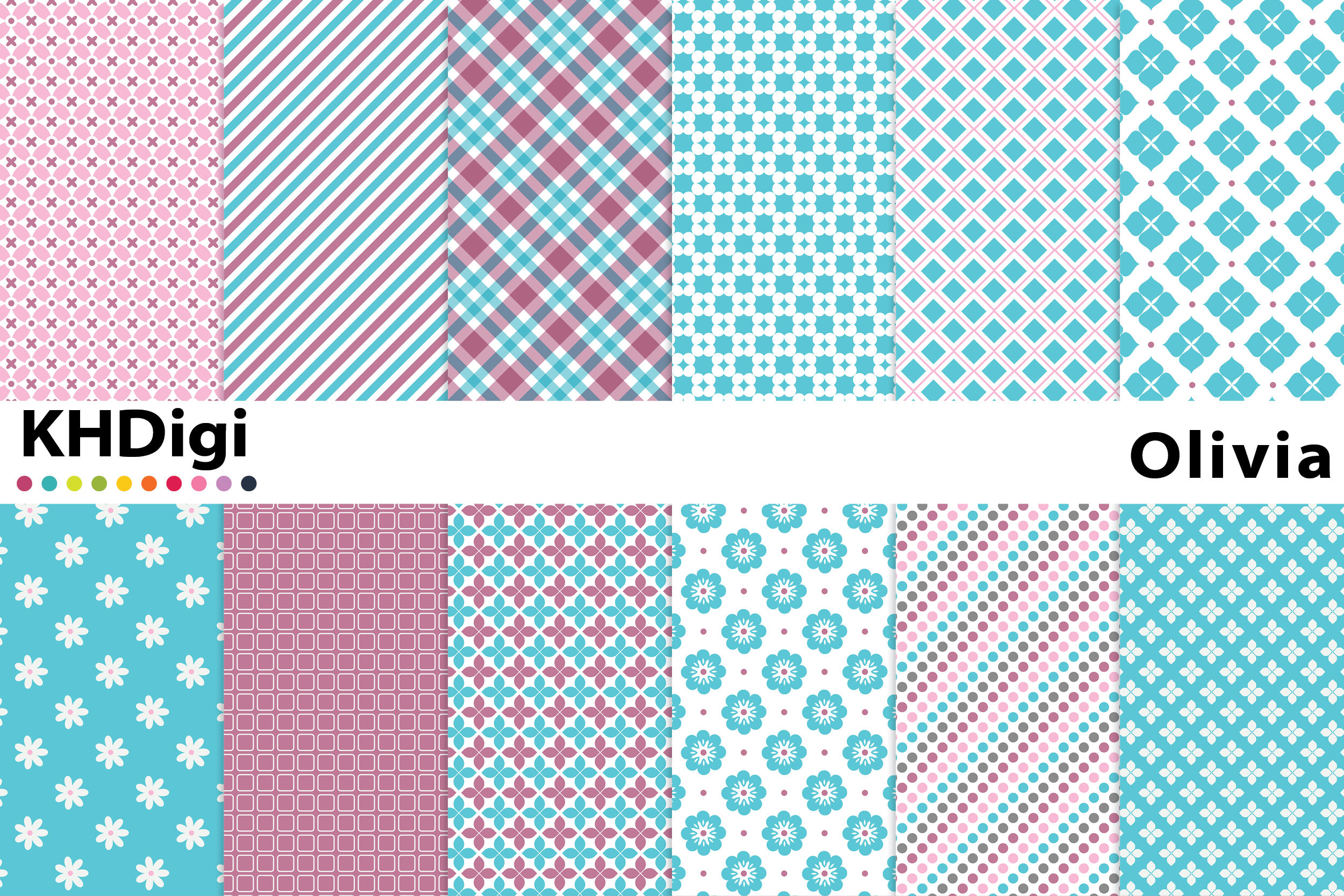 Download Free Olivia Digital Paper Graphic By Khdigi Creative Fabrica for Cricut Explore, Silhouette and other cutting machines.