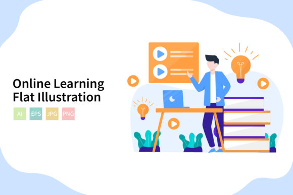 Download Free Online Learning Flat Vector Illstration Graphic By Sixtwenty for Cricut Explore, Silhouette and other cutting machines.