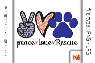 Download Free Peace Love Rescue Design Graphic By Craftstudio Creative Fabrica for Cricut Explore, Silhouette and other cutting machines.