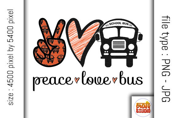 Download Free Peace Love Bus Design Graphic By Craftstudio Creative Fabrica for Cricut Explore, Silhouette and other cutting machines.