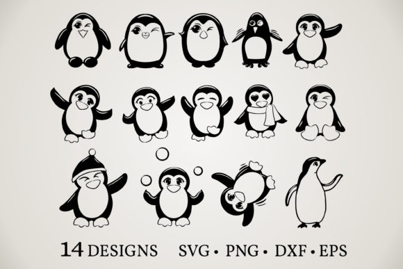 Download Free Penguin Bundle Graphic By Euphoria Design Creative Fabrica for Cricut Explore, Silhouette and other cutting machines.