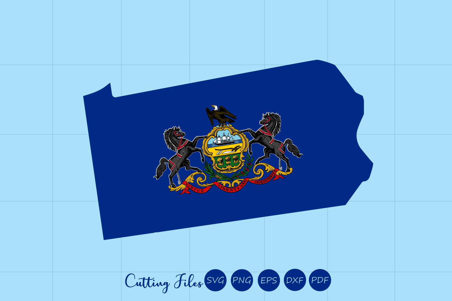 Download Free Pennsylvania State With Flag Background Graphic By Hd Art for Cricut Explore, Silhouette and other cutting machines.