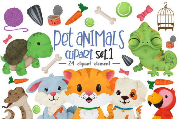 Print on Demand: Pet Animals Clipart Graphic Illustrations By accaliadigital