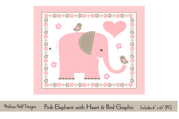 Download Free Pink Elephant With Heart Bird Graphic Graphic By Melissa Held for Cricut Explore, Silhouette and other cutting machines.