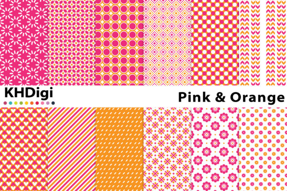 Download Free Pink And Orange Digital Paper Graphic By Khdigi Creative Fabrica for Cricut Explore, Silhouette and other cutting machines.