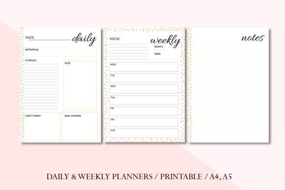 Planner, Gold Planner, Women's Planner Graphic Objects By Igraphic Studio