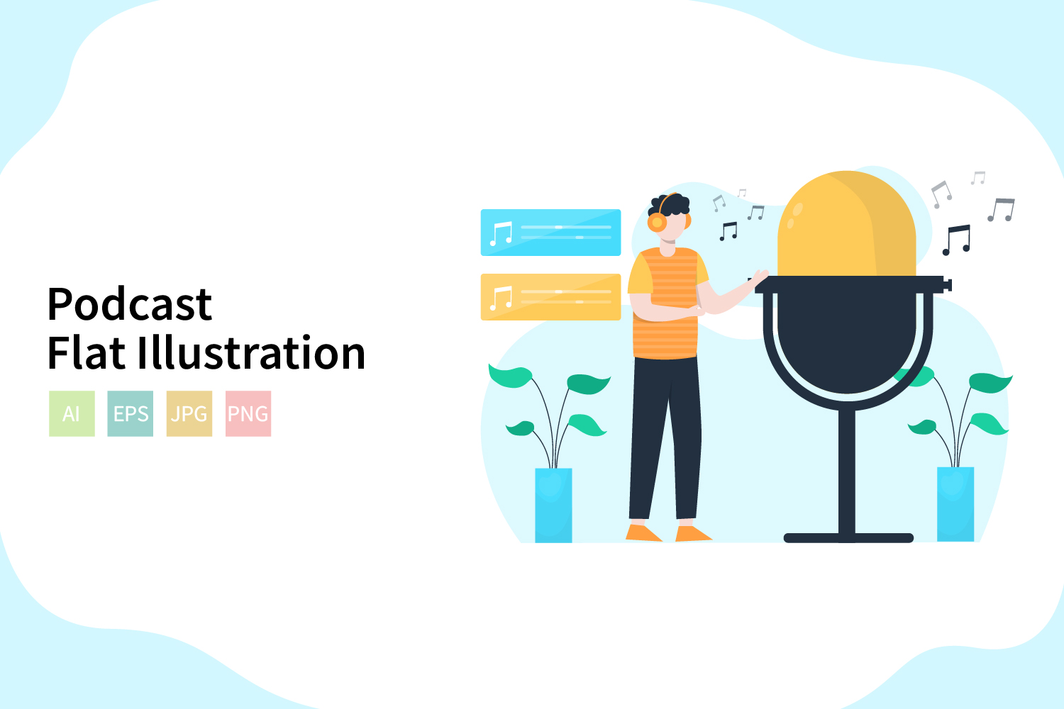 Download Free Podcast Flat Vector Illustration Graphic By Sixtwenty Studio SVG Cut Files