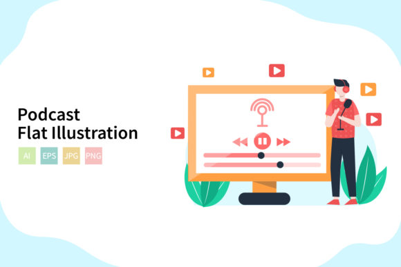 Download Free Podcast Flat Vector Illustration Graphic By Sixtwenty Studio for Cricut Explore, Silhouette and other cutting machines.