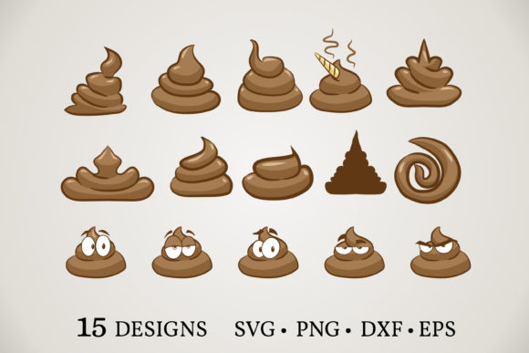 Poop Emoji Bundle  Graphic Print Templates By Euphoria Design