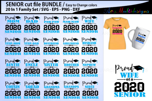 Print on Demand: Proud Senior Cutting File Bundle 2020 Graphic Crafts By Arcs Multidesigns