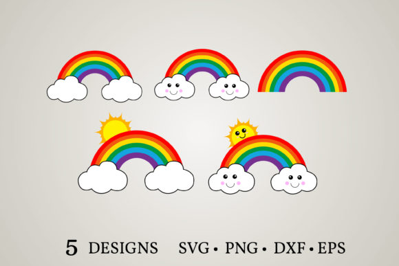 Download Free Rainbow Clipart Bundle Graphic By Euphoria Design Creative Fabrica for Cricut Explore, Silhouette and other cutting machines.