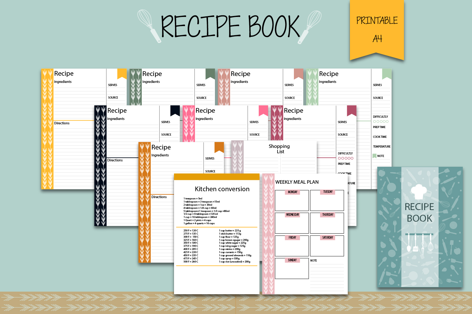 Download Free Recipe Binder Recipe Book Graphic By Igraphic Studio Creative for Cricut Explore, Silhouette and other cutting machines.
