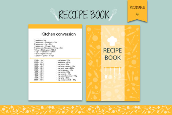 Recipe Book, Recipe Binder Graphic Print Templates By Igraphic Studio