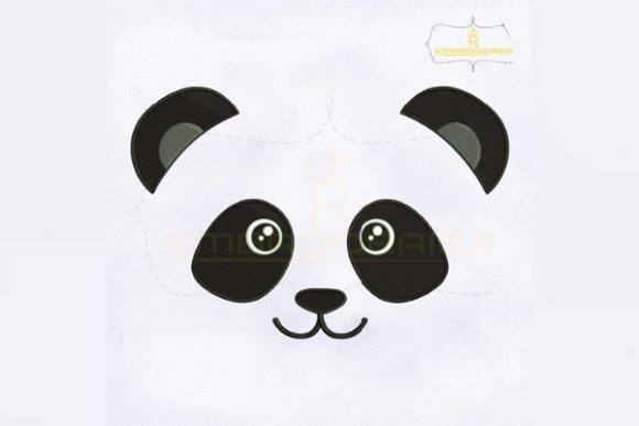 Round-Eyed Panda Face Wild Animals Embroidery Design By royalembroideries