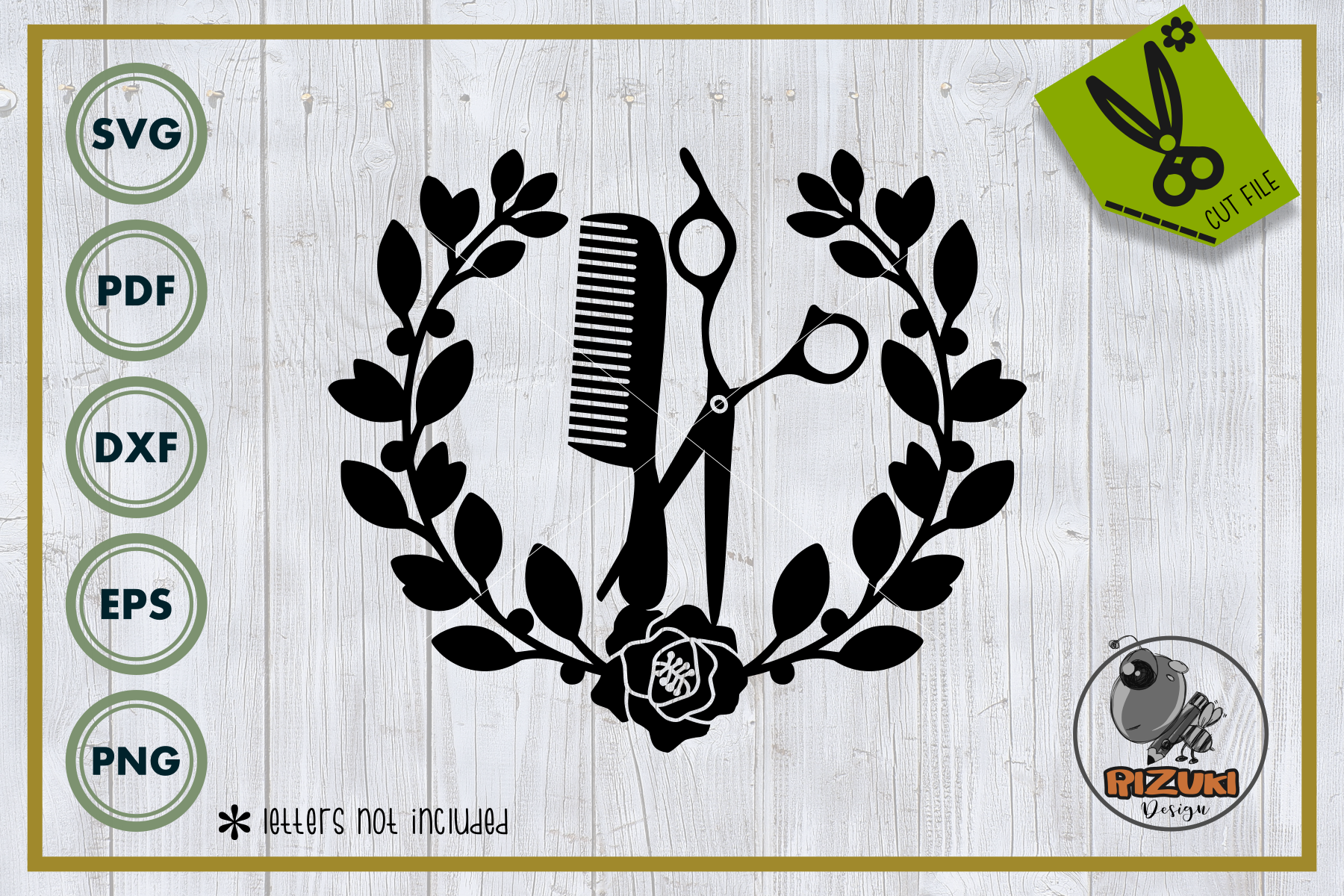 Download Free Salon Comb And Scissors With Wreath Graphic By Rizuki Store for Cricut Explore, Silhouette and other cutting machines.