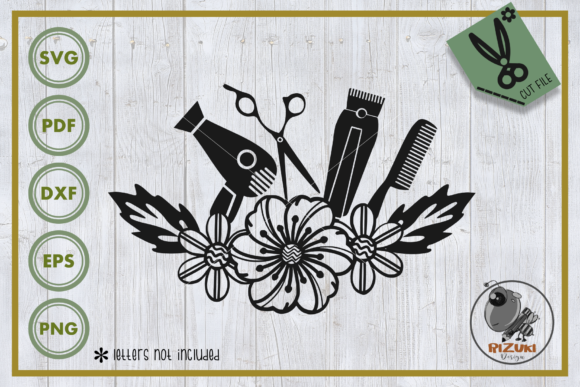 Download Free Salon Salon Tool With Flower Graphic By Rizuki Store Creative for Cricut Explore, Silhouette and other cutting machines.